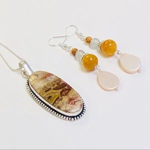 Gorgeous Natural Jasper Necklace & Earrings Set